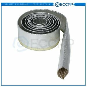 Metallic Heat Insulation Sleeve Shield Sleeve Wire Hose Protect Cover 34 6 Ft