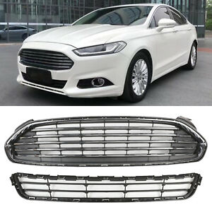 2pcs Front Bumper Upperlower Grille Grill For Ford Fusion 2013 2016