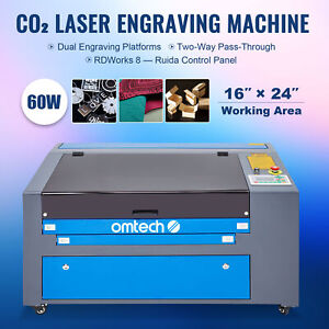 Omtech 60w 16x24 Co2 Laser Engraver Cutter Marker With Cw 5200 Water Chiller