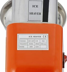 Electric Snow Cone Machine Maker Stainless Steel Shaved Ice 145lb hr Ice Crusher