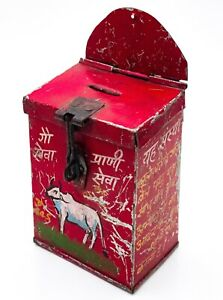 Vintage Handmade Indian Tin Plate Wall Mounted Painted Money Collection Box