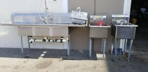 3 Commercial Kitchen Sinks One Restaurant 3tub prep Hank Sink W All Faucets