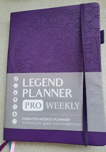 Legend Planner Pro Weekly Undated Planner Purple Embossed With Stickers 7x10