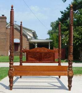 Federal Empire Mahogany Tall Poster Bed Queen