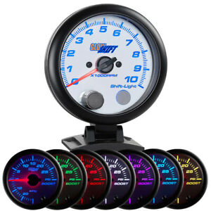 Used Glowshift White 7 Color 3 34 On Dash Tachometer 0 10000 Rpm Gauge