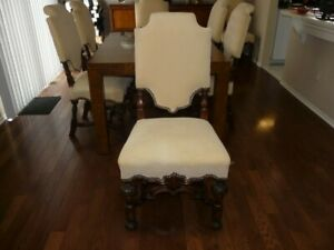Solid Walnut Victorian Style Antique Dining Chairs Set Of 8