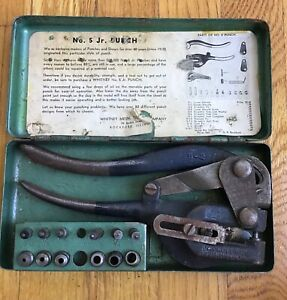 Vintage Roper Whitney No 5 Jr Hand Punch Dies With Metal Case