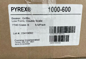 Case Of 6 Corning Pyrex 1000 600 Beaker Griffin Low Form Double Scale New