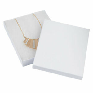 7 X 5 X 1 Inch White Embossed Cotton Filled Jewelry Boxes 100 Pack