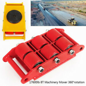 8t Heavy Duty Machinery Mover W 360 rotation Cap 17 600lb Dolly Skate 6 rollers