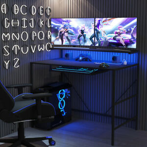 3 Layer Led Gaming Computer Desk With Keyboard Tray Office Table Carbon Fiber