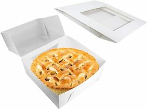 Pie Boxes White Cardboard Bakery Containers With Display Window 9 X 9 X 2 5