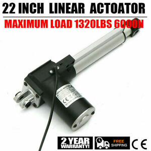 22 Inch Silver Linear Actuator Stroke 1320lbs Pound Max Lift Output 12v Volt Dc
