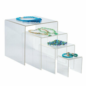 4 6 8 10 Inch Square Nesting Clear Acrylic Display 4 Risers