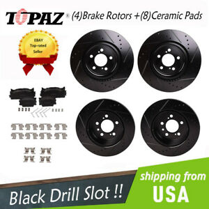 For Toyota Camry Es350 Front Rear Black Drill Slot Brake Rotors Ceramic Pads