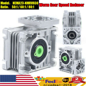 50 60 1 80 1 Worm Gearbox Speed Reducer For Nema23 030 Reduction Stepper Motor