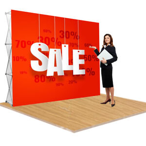 8 x10 Pop Up Display Stand Aluminum Trade Show Stand tension Fabric Backdrop