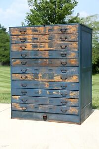 Antique Apothecary Cabinet Wood Flat File Map Cabinet 11 Drawer Blue Farmhouse