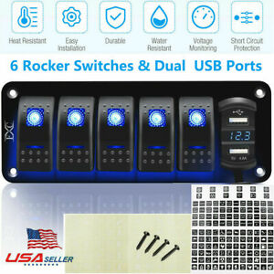 Rv Car Rocker Switch Panel Breakers Toggle Switches Waterproof Led Marine Boat
