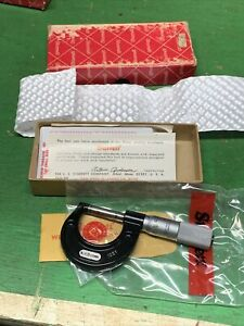 Vintage Starrett No 436 Mxp Carbide 25mm Micrometer With Wrench And Box