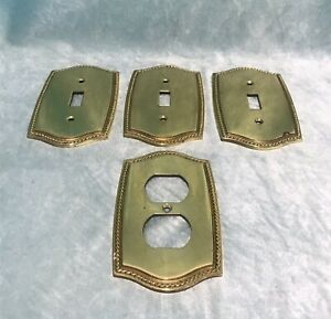 Vintage Solid Brass Rope Edge 3 Single Switch amp; 1 Double Gang Outlet Covers $35.00