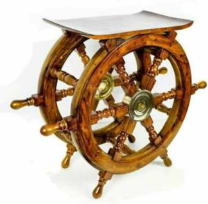 30 Handmade Center Wooden Pirate Ship Wheel Table Nautical Coffee Table Living