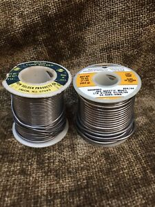 2 Reels Rosin Core Solder Kester 44 1 Lb Bow Partially Used 13oz