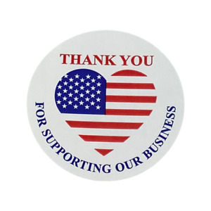 Thank You For Supporting Small Business Flag Labels 2 Circle 500 Stickers