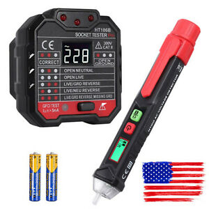 Noncontact Ac Voltage Tester Pen Socket Tester Electric Outlet Tester W Battery