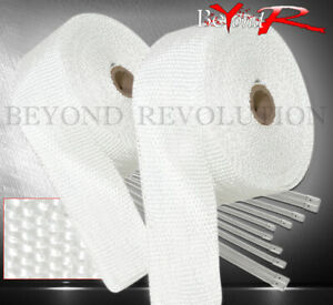 30ft Exhaust Header Manifold Heat Wrap Shield Cover Insulation Reduction White