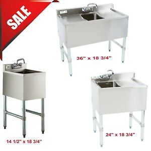 Commercial Stainless Steel 1 Bowl Underbar Hand Wash Sink With Swivel Faucet Nsf