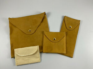 Bvlgari Tan Leather Suede Jewelry Travel Pouch Bag Set Of 3 W extra Bag