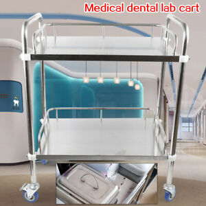 Movable 3 Layers Cart Trolley Serving For Lab Cart Trolley Silver Easy to clean