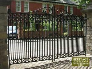 Victorian Cast Iron Driveway Gate Heavy Casting Ornate Detail Each Side 50 Off
