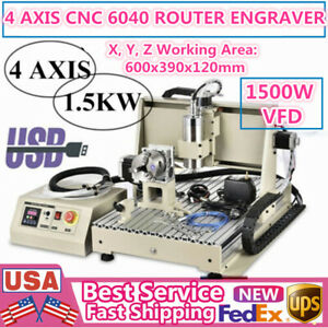 4 axis Cnc 6040 Router Engraver 1500w Vfd Milling Drilling Engraving Machine Usb