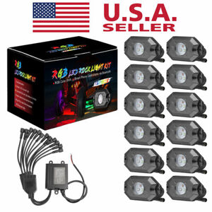 Updated Rgb Led Rock Lights Bluetooth Multi Color Timing Music Truck 12 Pods 12v