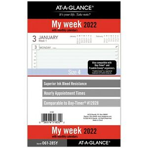 2022 Weekly Planner Refill At a glance 12028 Day timer Size 4 061 285y