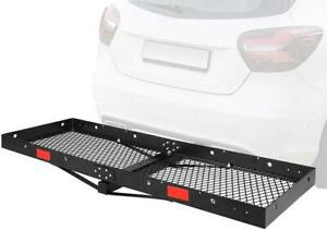 Foldable Hitch Cargo Carrier 60 X 20 X 4 Basket Trailer 500 Lbs Capacity New