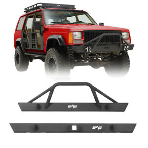 Steel Front Bumper And Rear Bumper Combo Black Fit For 84 01 Jeep Cherokee Xj