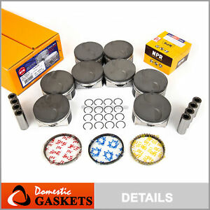 Pistons W Rings Fits 07 09 Chevy Gm Cadillac Hummer 6 2l Lc9 Lh6 Lmg Ly5