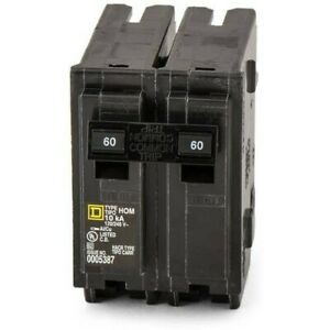 Square D Homeline 60 Amps Plug In 2 pole Circuit Breaker pack Of 1 New Hom260
