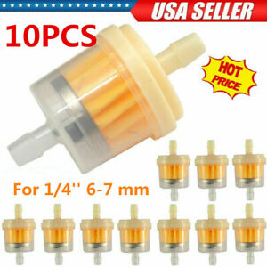 10pcs Inline Gas Oil Fuel Filter Small Engine 1 4 6 7 Mm Lawn Mower Universal
