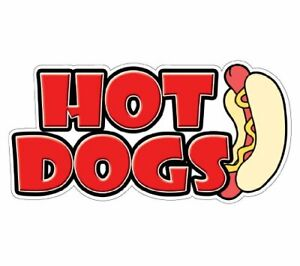 Hot Dogs I Concession Decal Sign Stand Cart Dog Vendor 48