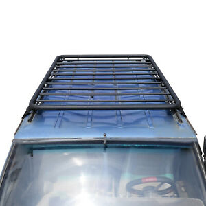 Black 2 Tube Roof Rack Cargo Carrier Flat Style Fits For 84 01 Jeep Xj Cherokee