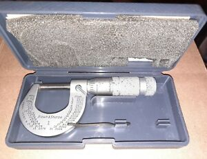 2 Brown And Sharpe Micrometer No 1 599 1 1 Slant line Outside Machinist Tool
