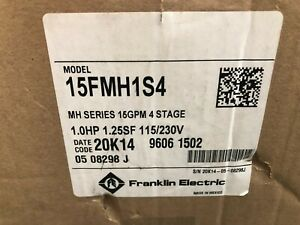Franklin Electric 15fmh1s4 4stage Booster Pump 1hp 115 230v 1 ph Mh Series 15gpm
