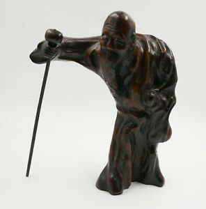 Antique Asian Old Man Wood Carving Figurine Sculpture