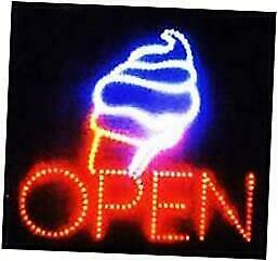 Large Open Ice Cream Cone Yogurt Signs Led Neon Business Motion Light Sign