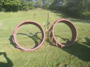 Antique 1920s Fordson Tractor Model F Rear Steel Wheels Rims Extensions