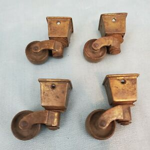 Antique Vintage Heavy Brass Swivel Caster Wheel Square Cup Salvaged Set Of 4